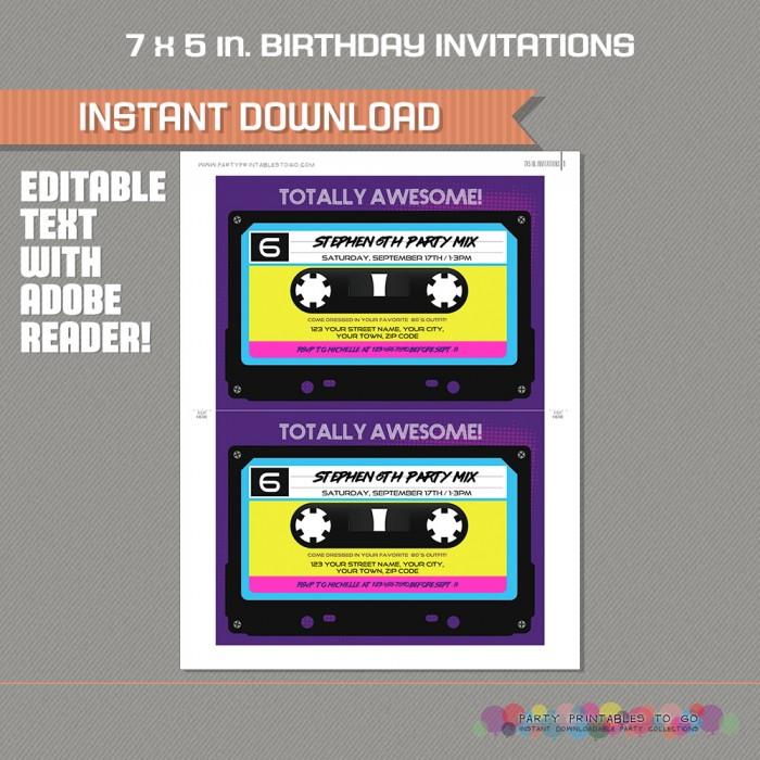 80s Party Invitation Retro Cette