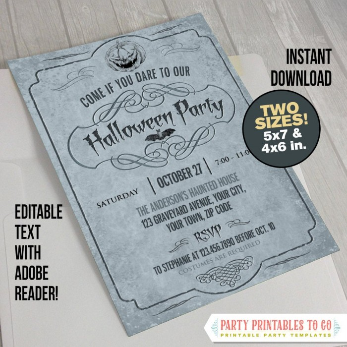 Adult Halloween Invitation (Gray)