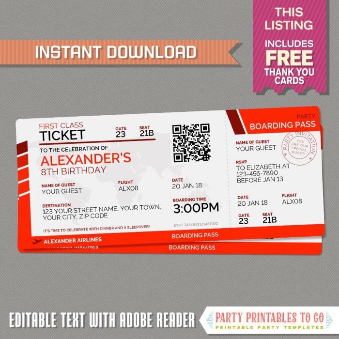 Airplane Boarding Pass with FREE Thank You Card (Red)
