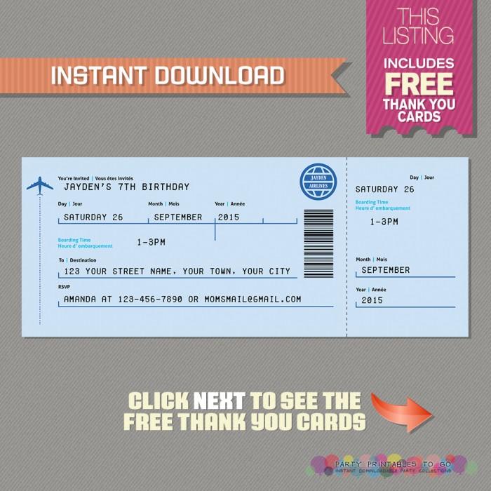 Airplane Boarding Pass Invitation with FREE Thank You Card