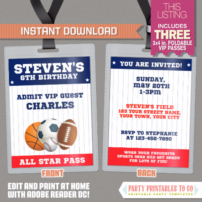 All Star Sports VIP Pass Birthday Party Invitations - INSTANT ...