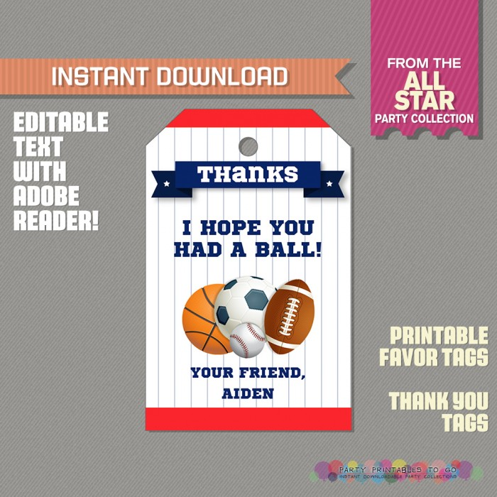 All Star Sports Party Favor Tag / Sports Thank you Tag