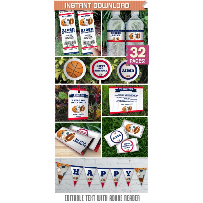 All Star Sports Party Printables, Invitations & Decorations
