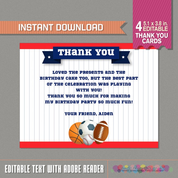 All Star Sports Party Thank You Card