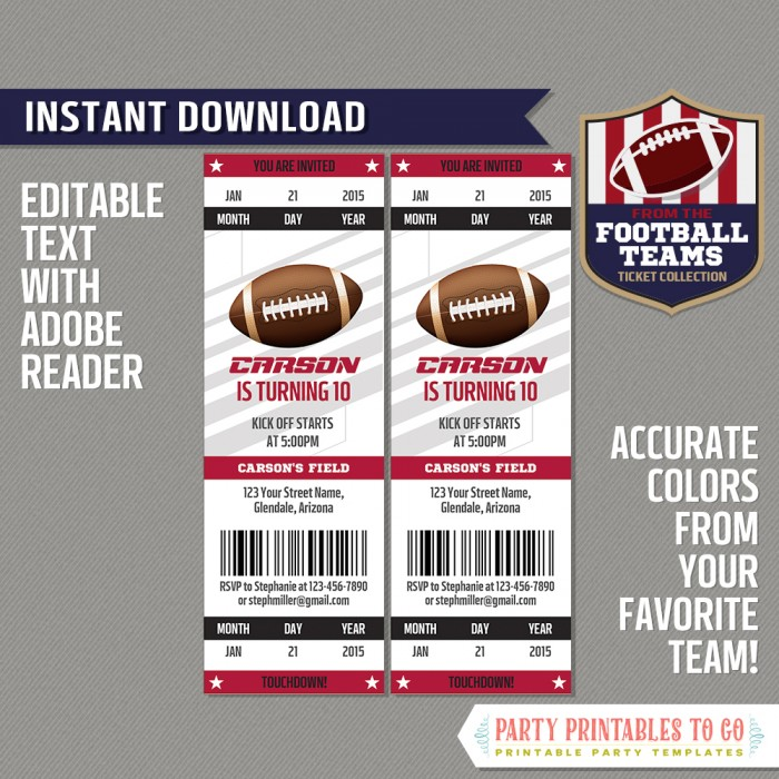 Arizona Cardinals Ticket Invitation - Editable PDF file