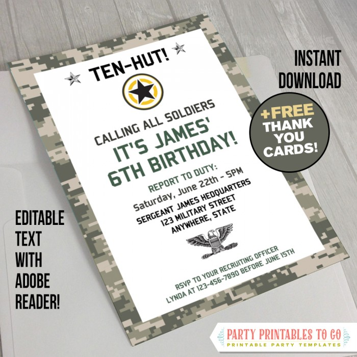 graphic regarding Military Thank You Cards Free Printable named Navy Occasion Invitation with Absolutely free Thank your self Card