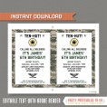 Army Party Invitation with FREE Thank you Card