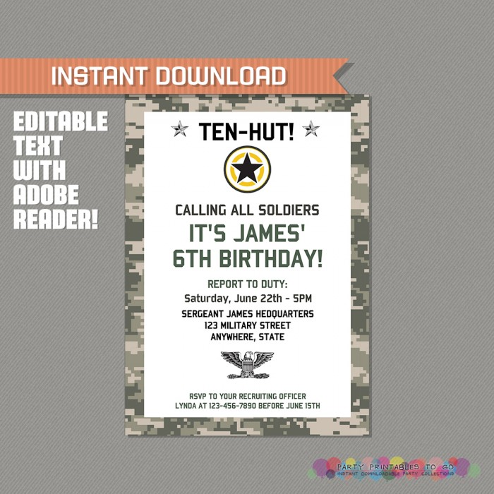 Army Printable Birthday Party Invitation - Editable PDF file - Print ...