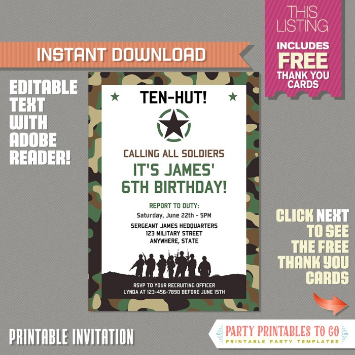 Army Party Invitation with FREE Thank you Card (Design 2)