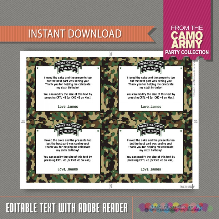 Army Invitation with FREE Thank you Card! Camo Birthday Party ...