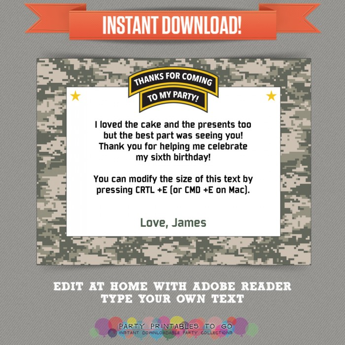 Army Party printable Thank you Card