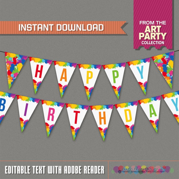 Art Party Printable Birthday Banner with Spacers