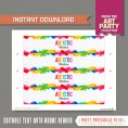 Art Party Bottle Labels or Napkin Rings