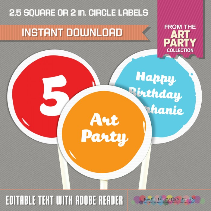 Art Party Circle or Square Labels
