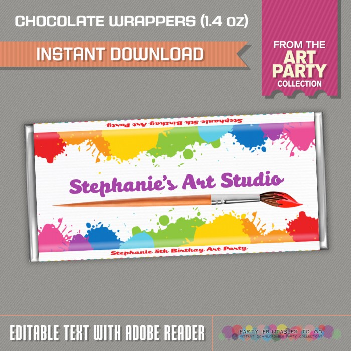 Art Party Standard size Chocolate Wrappers