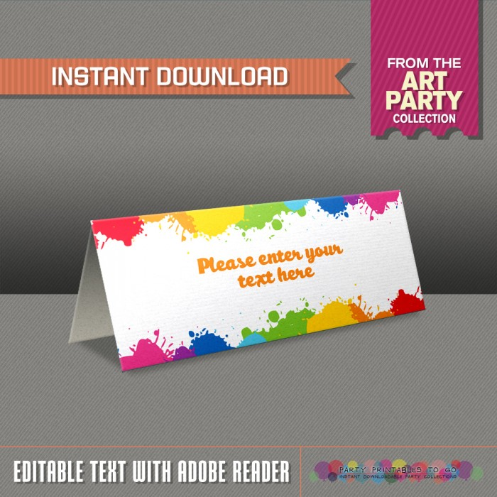 Art Party Tent Cards - Art Party Place Cards