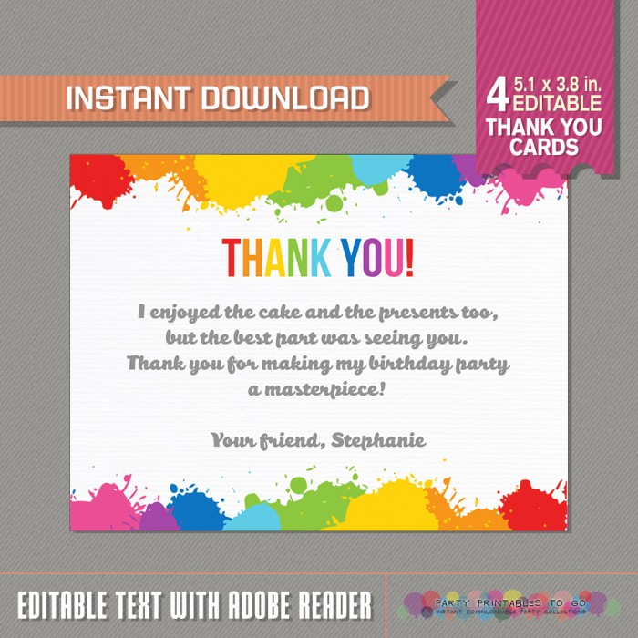 Art Party Thank you Cards - Art Birthday Party