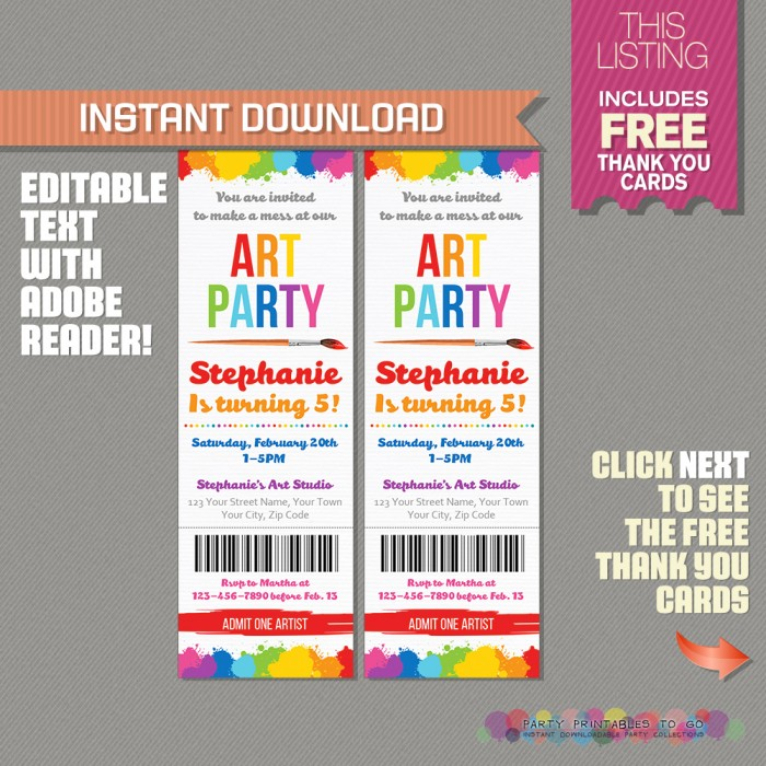 Art Party Ticket Invitation with FREE Thank you Cards