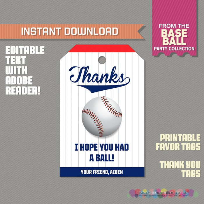 Baseball Party Favor Tag / Baseball Thank you Tag