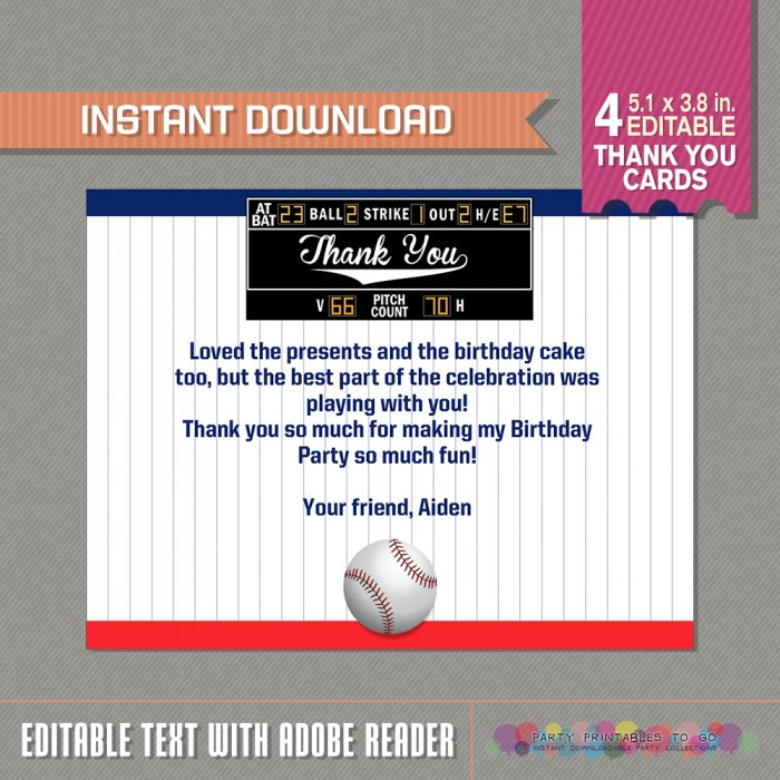 Baseball Party Thank You Card - Baseball Birthday