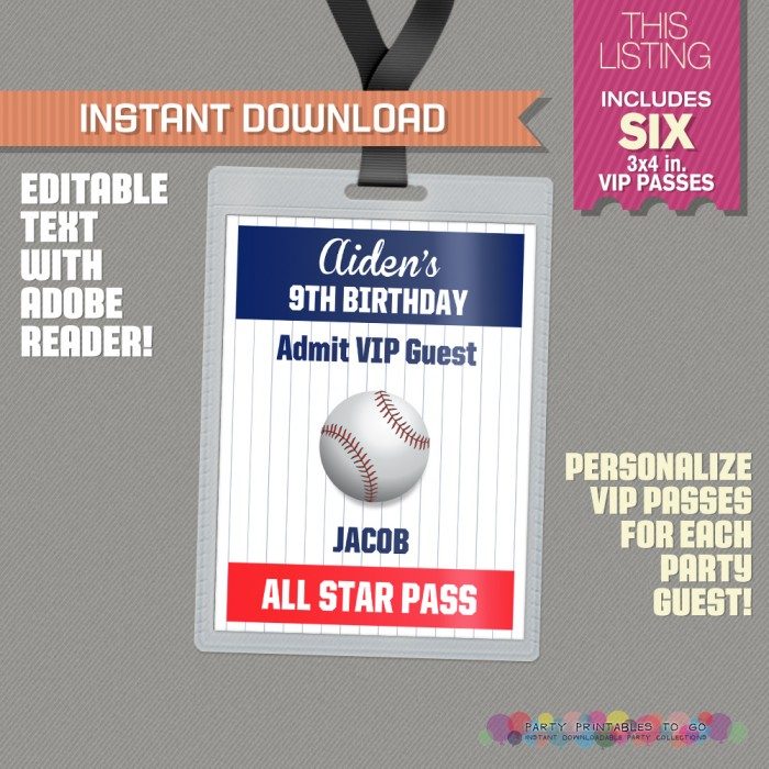Baseball Party All Star Pass