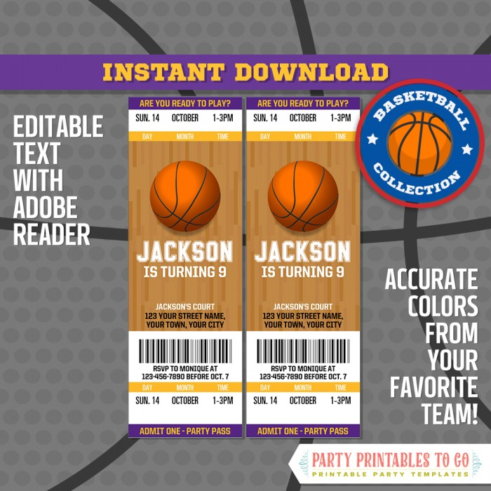 Basketball Ticket Invitation Free Thank You Card Los Angeles Lakers Basketball Birthday Basketball Party Edit And Print At Home