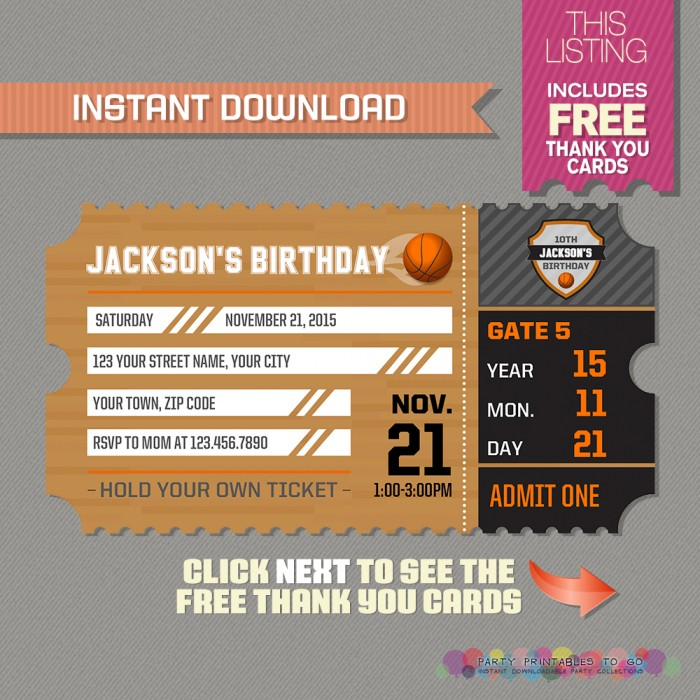 basketball ticket invitation with free thank you card basketball