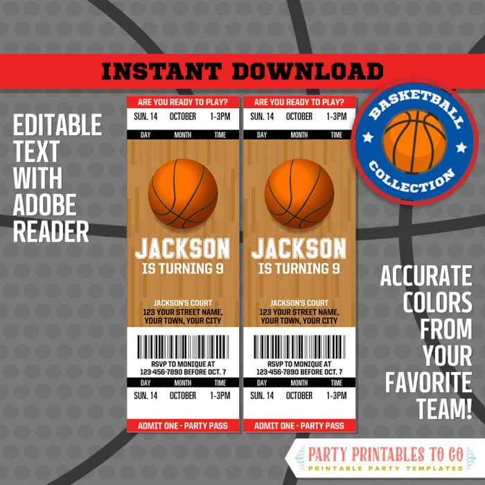 Basketball Ticket Invitation + FREE Thank you Cards! - (Chicago Bulls)