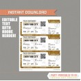 Editable Airplane Boarding Pass (Glitter Gold)