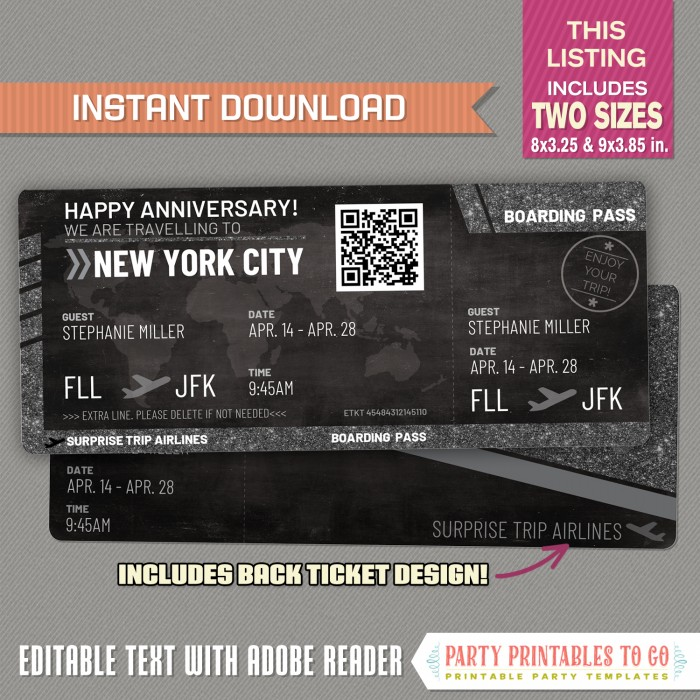 Editable Airplane Boarding Pass (Glitter / Chalkboard)
