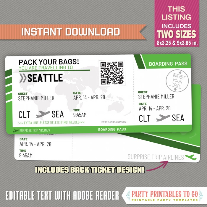 Editable Airplane Boarding Pass (Green)
