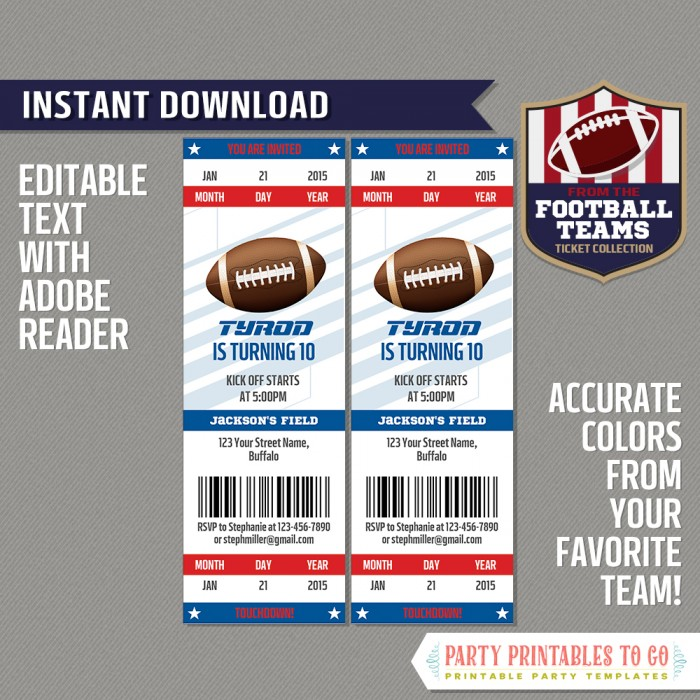 Buffalo Bills Ticket Invitation - Editable PDF file