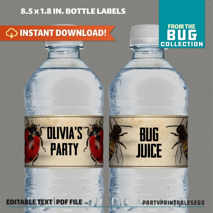 Bug Party Bottle Labels, Bug Party Napkin Rings