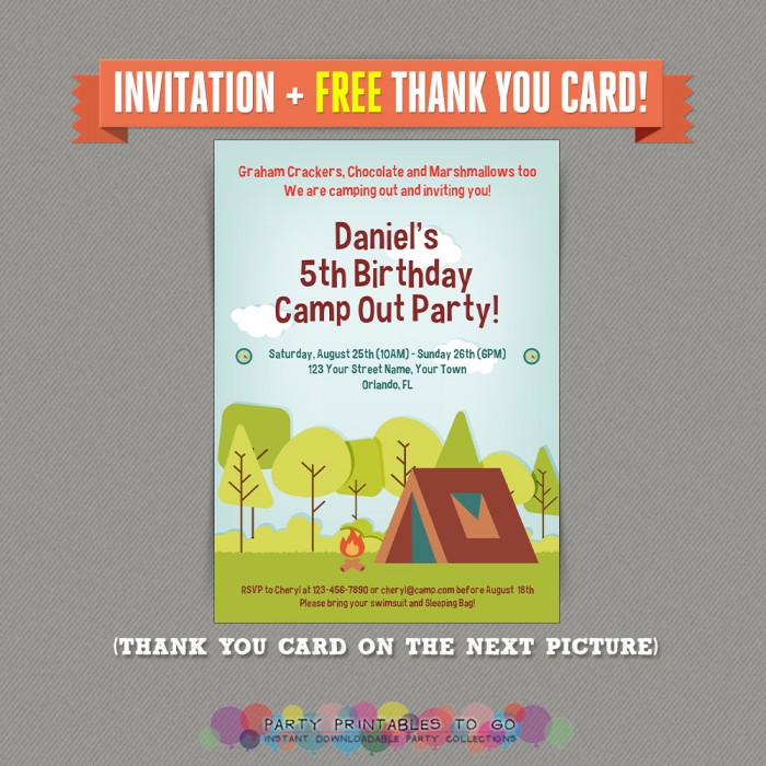 Camp Out / Camping Birthday Party Printable Invitation with FREE Thank you Card