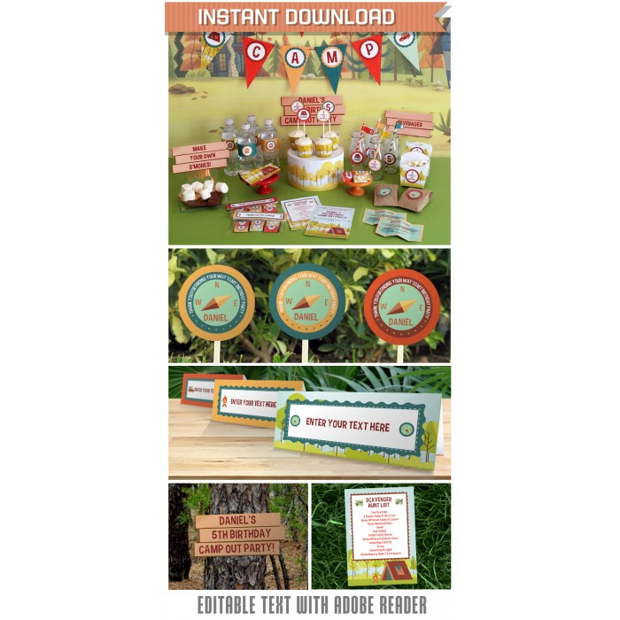 Camping Party Invitations & Decorations