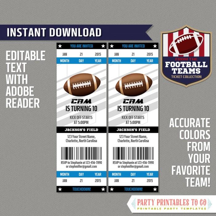 Carolina Panthers Ticket Invitation - Editable PDF file