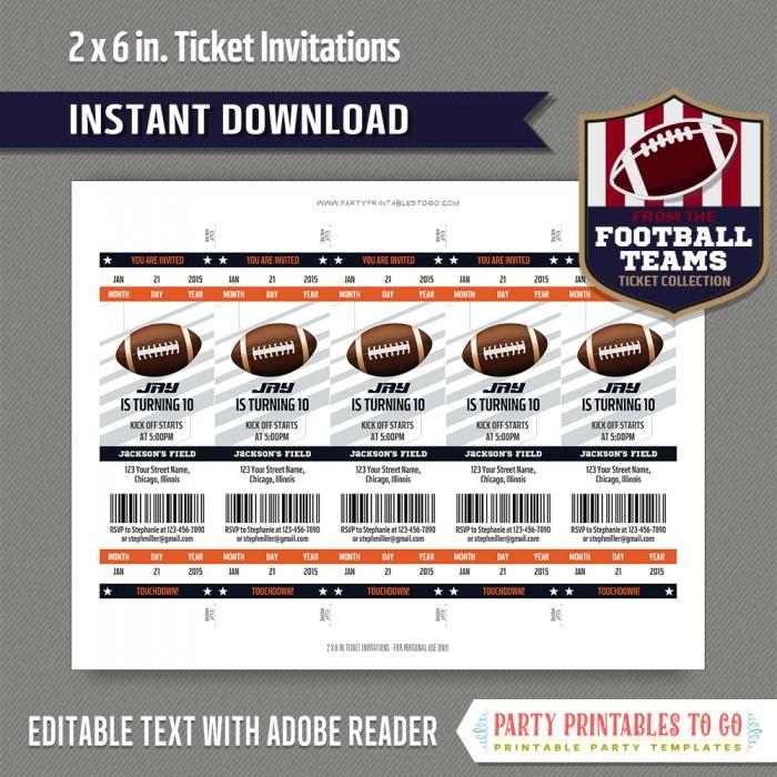 chicago bears football ticket invitation template orange and navy
