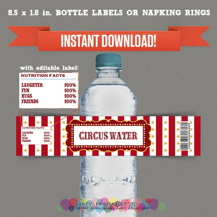 Circus / Carnival Party Printable Birthday Bottle Labels