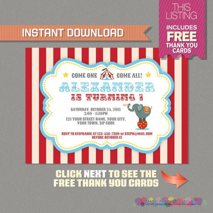 circus carnival invitation with free thank you card circus