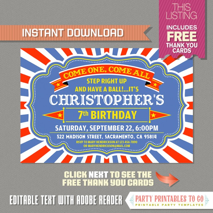 Circus Party Invitation with FREE Thank you Card