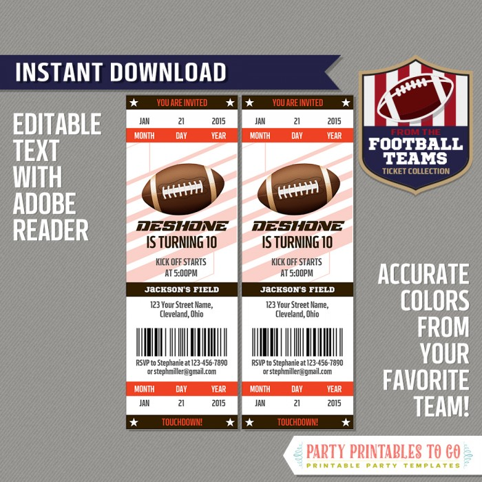 Cleveland Browns Ticket Invitation - Editable PDF file