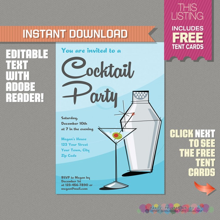 Cocktail Party Invitation with FREE Tent Cards