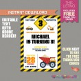 Construction Party Invitation with FREE Thank you Card (Design 2)