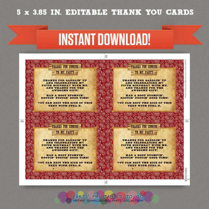 Cowboy Birthday Party Printable Invitation With FREE Thank You Card