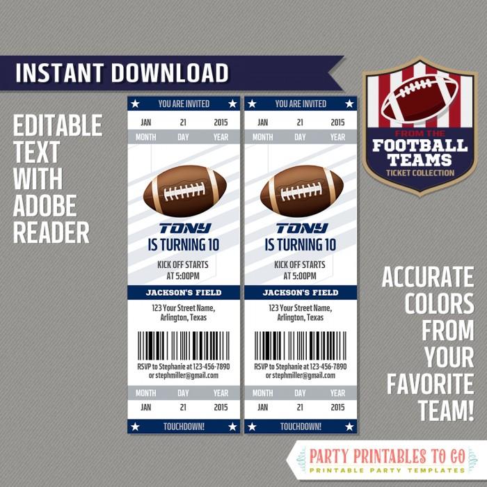 Dallas Cowboys Ticket Invitation - Editable PDF file