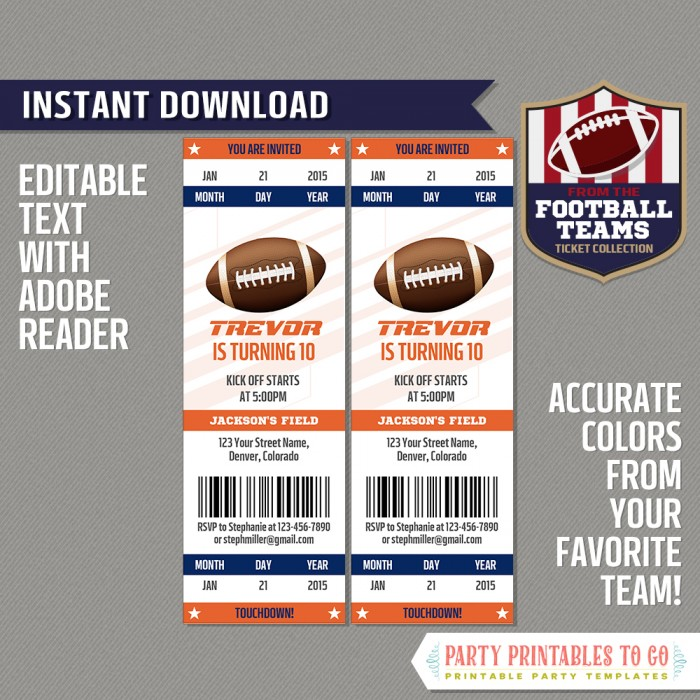 Denver Broncos Ticket Invitation - Editable PDF file