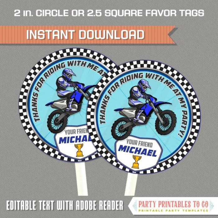 Dirt Bike Party Favor Tags (Blue)