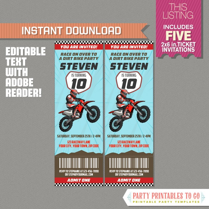 Dirt Bike Party Ticket Invitation (Red)