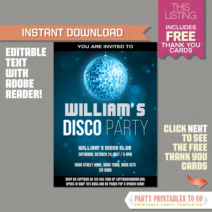 Disco Party Invitation With FREE Thank You Card Blue INSTANT - Disco birthday invitation templates free