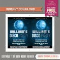 Disco Party Invitation with FREE Thank you Card (Blue)